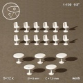 Tables, round, trumpet-shaped Base, and Chairs, 1:100, Ø 8 m