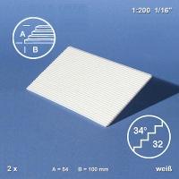 Treppenplatte 34°, weiß, 1:200