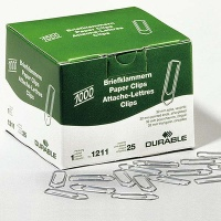 Durable Paper Clips, galvanized, sharp, 26 mm