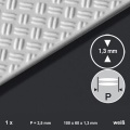 PS-Tränenblech 6 x 10 cm, P=2,5 mm