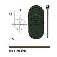 Corundum Cutting Discs, 10 pcs., 22 mm + Arbor